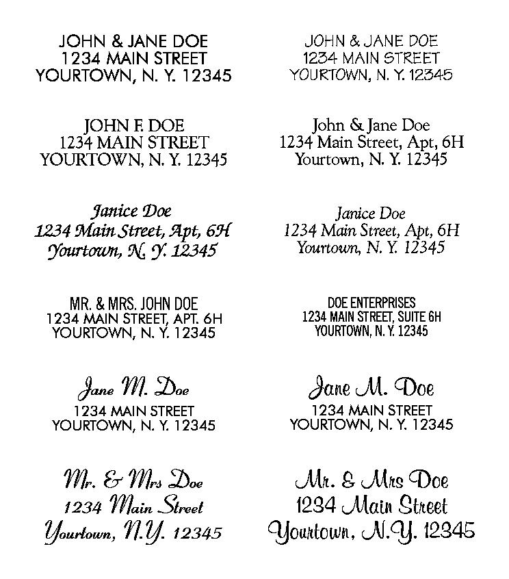 Formats For Rubber Stamps